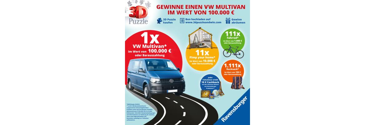 3D Puzzle kaufen und mit etwas Glück einen VW Multivan gewinnen! -