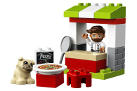 LEGO® 10927 DUPLO Pizza-Stand, Spielzeug für Kleinkinder ab 2 Jahre, Konstruktionsspielzeug aus großen Bausteinen mit Pizza und Hundefigur