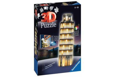 Schiefer Turm von Pisa bei Nacht - 3D Puzzle