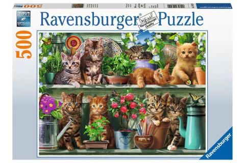 Ravensburger 500 Teile Puzzle: Katzen im Regal