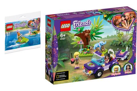 LEGO® Friends 2er Set: 30410 Mias Schildkröten-Rettung + 41421 Rettung des Elefantenbabys mit Transporter