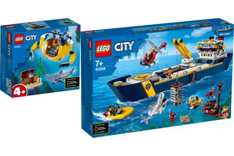LEGO® City 2er Set: 60263 Mini-U-Boot für Meeresforscher + 60266 Meeresforschungsschiff