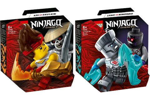 LEGO® NINJAGO® 2er Set: 71730 Battle Set: Kai vs. Skulkin + 71731 Battle Set: Zane vs. Nindroid