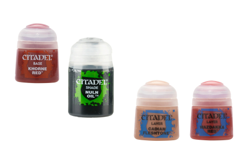 Citadel Farbset für Bordeauxrot: Base + Shade + 2x Layer