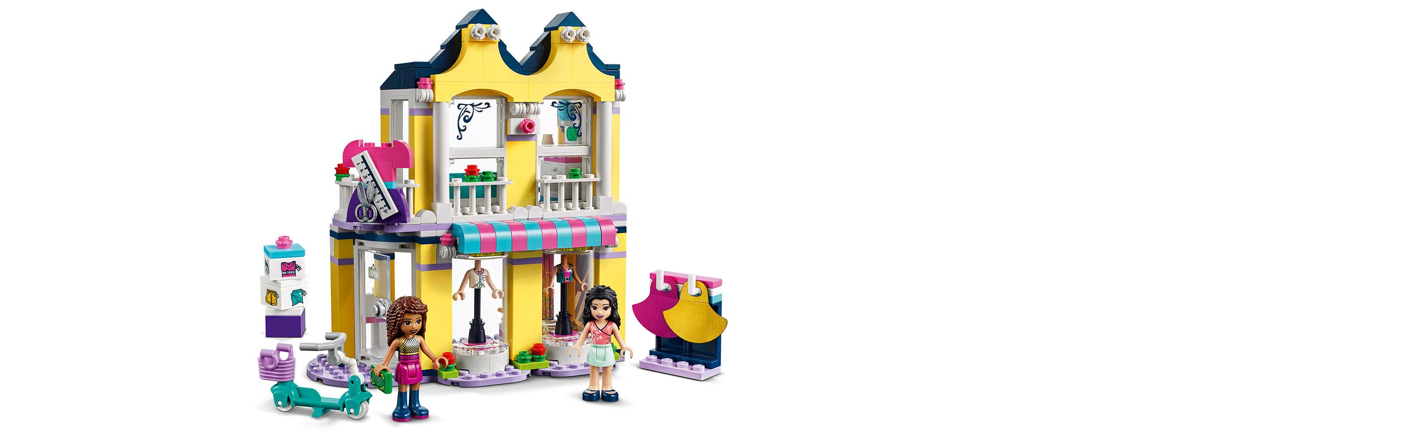 LEGO® 41427 Friends Emmas Mode-Geschäft Set, Puppenhaus mit Mini Puppen Andrea & Emma und Accessoires, Spielzeug ab 6 Jahren Minifigs